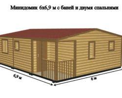 Садовый Домик 6х6,9м с помещением баней и двумя спальнями